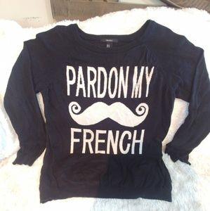 Pardon My French Black with Mustache Sweater SizeM